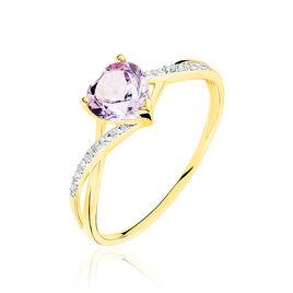 Bague Clothilde Or Jaune Amethyste Et Diamant - Bagues Coeur Femme | Histoire d'Or