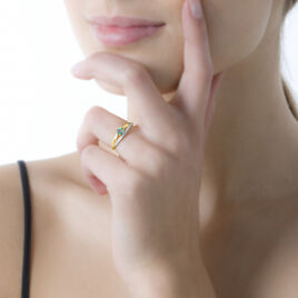 Bague Marie-luc Or Jaune Diamant Et Emeraude - Bagues avec pierre Femme | Histoire d'Or