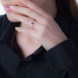 Bague Eva Or Jaune Amethyste Et Diamant - Bagues Coeur Femme | Histoire d'Or