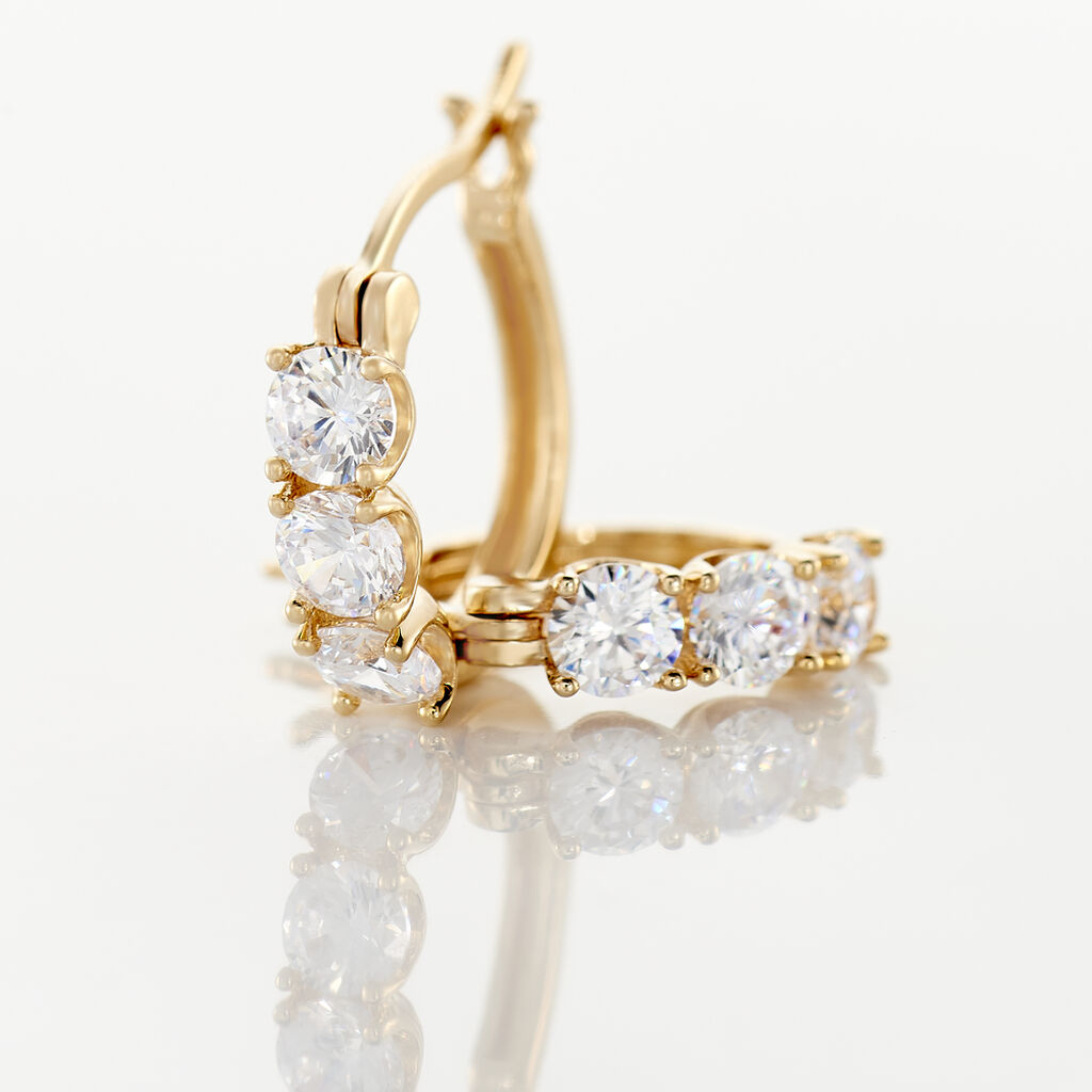 Boucles D'oreilles Pendantes Jacotte Plaque Or Oxyde De Zirconium - Boucles d'oreilles créoles Femme | Histoire d'Or