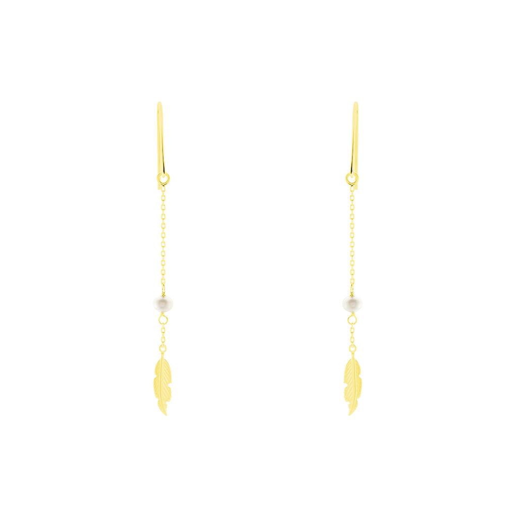 Boucles D'oreilles Pendantes Juditte Or Jaune Perle De Culture - Boucles d'Oreilles Plume Femme   Histoire d'Or