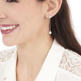 Boucles D'oreilles Puces Brighid Argent Blanc Oxyde De Zirconium - Boucles d'oreilles fantaisie Femme | Histoire d'Or
