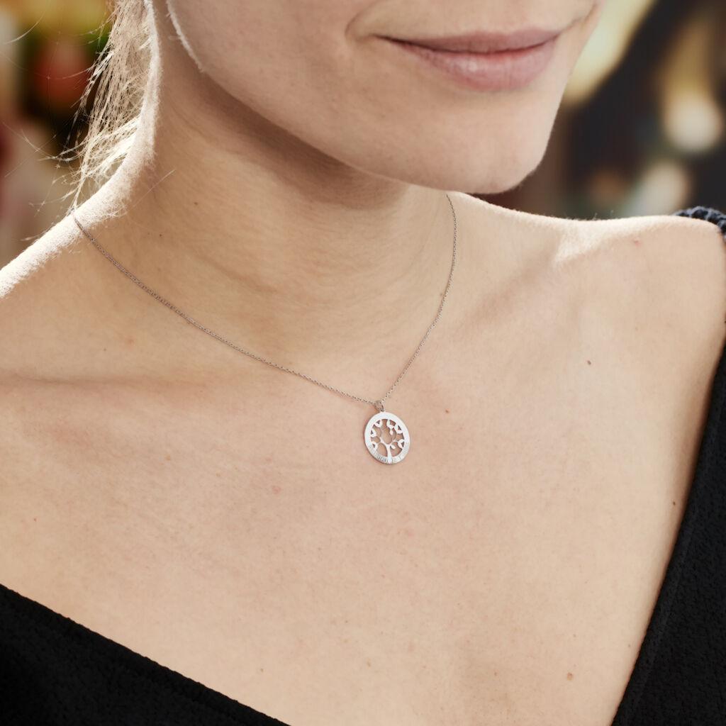 Collier Afaf Argent Blanc - Colliers Arbre de vie Femme   Histoire d'Or