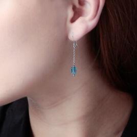 Boucles D'oreilles Pendantes Sirene Argent Blanc Pierre De Synthese - Boucles d'oreilles fantaisie Femme | Histoire d'Or