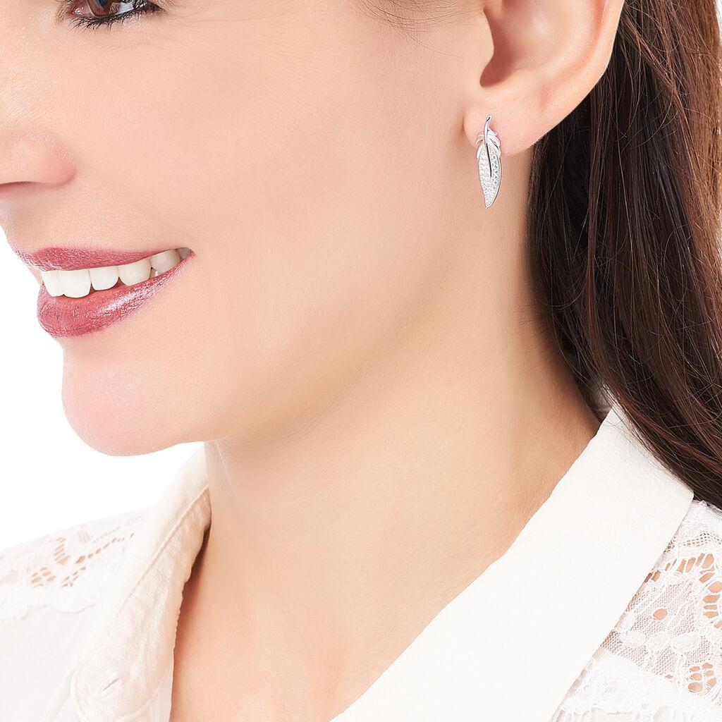 Boucles D'oreilles Pendantes Angeline Argent Blanc Oxyde De Zirconium - Boucles d'Oreilles Plume Femme | Histoire d'Or