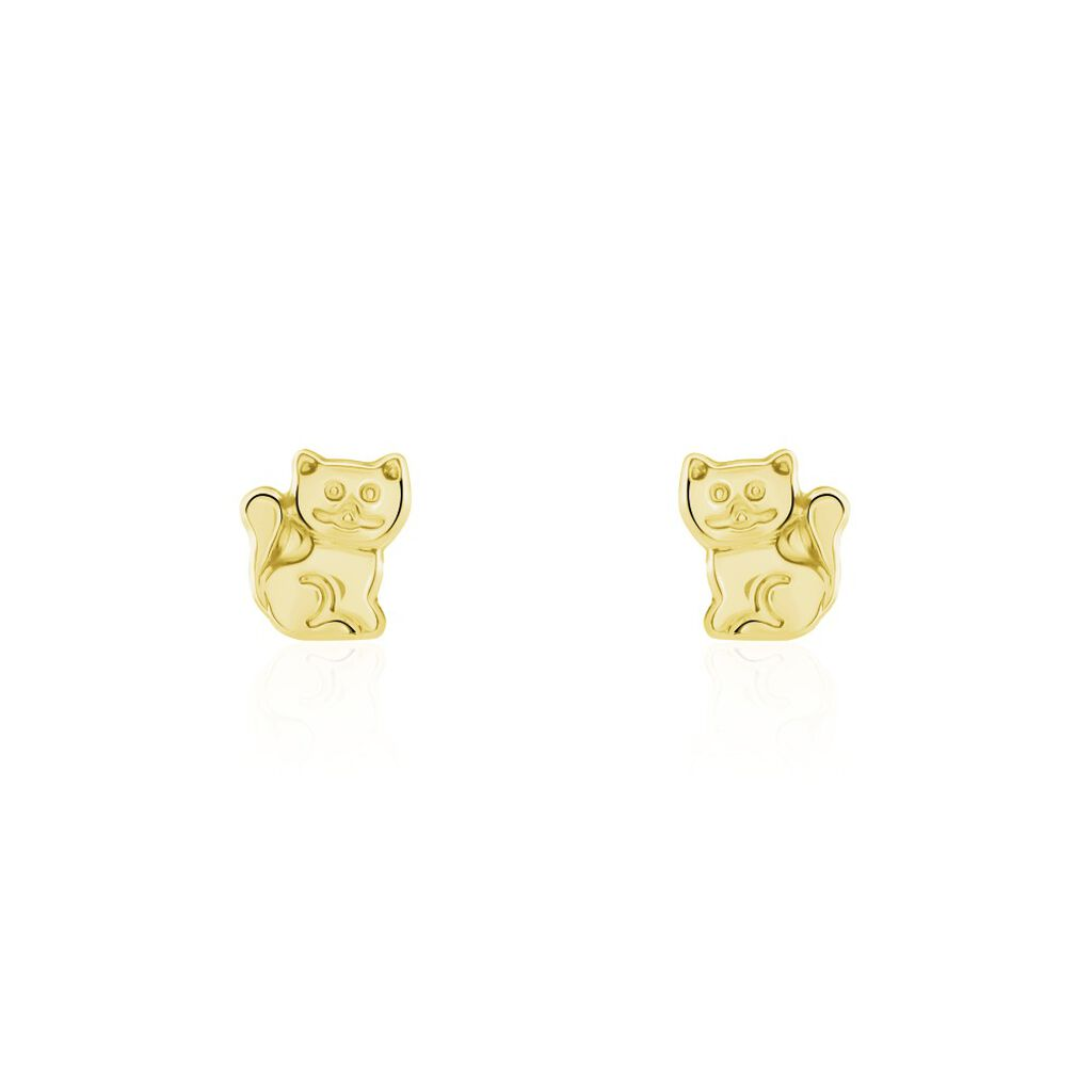 Boucles D'oreilles Puces Florenta Chat Or Jaune - Clous d'oreilles Enfant | Histoire d'Or