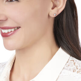 Boucles D'oreilles Puces Virgie Argent Blanc - Boucles d'oreilles fantaisie Femme   Histoire d'Or