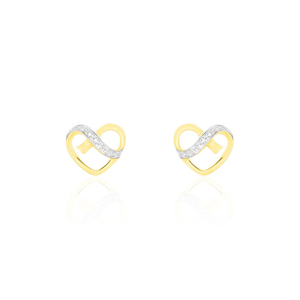 Boucles D'oreilles Puces Juliane Or Jaune Diamant - Boucles d'Oreilles Coeur Femme   Histoire d'Or