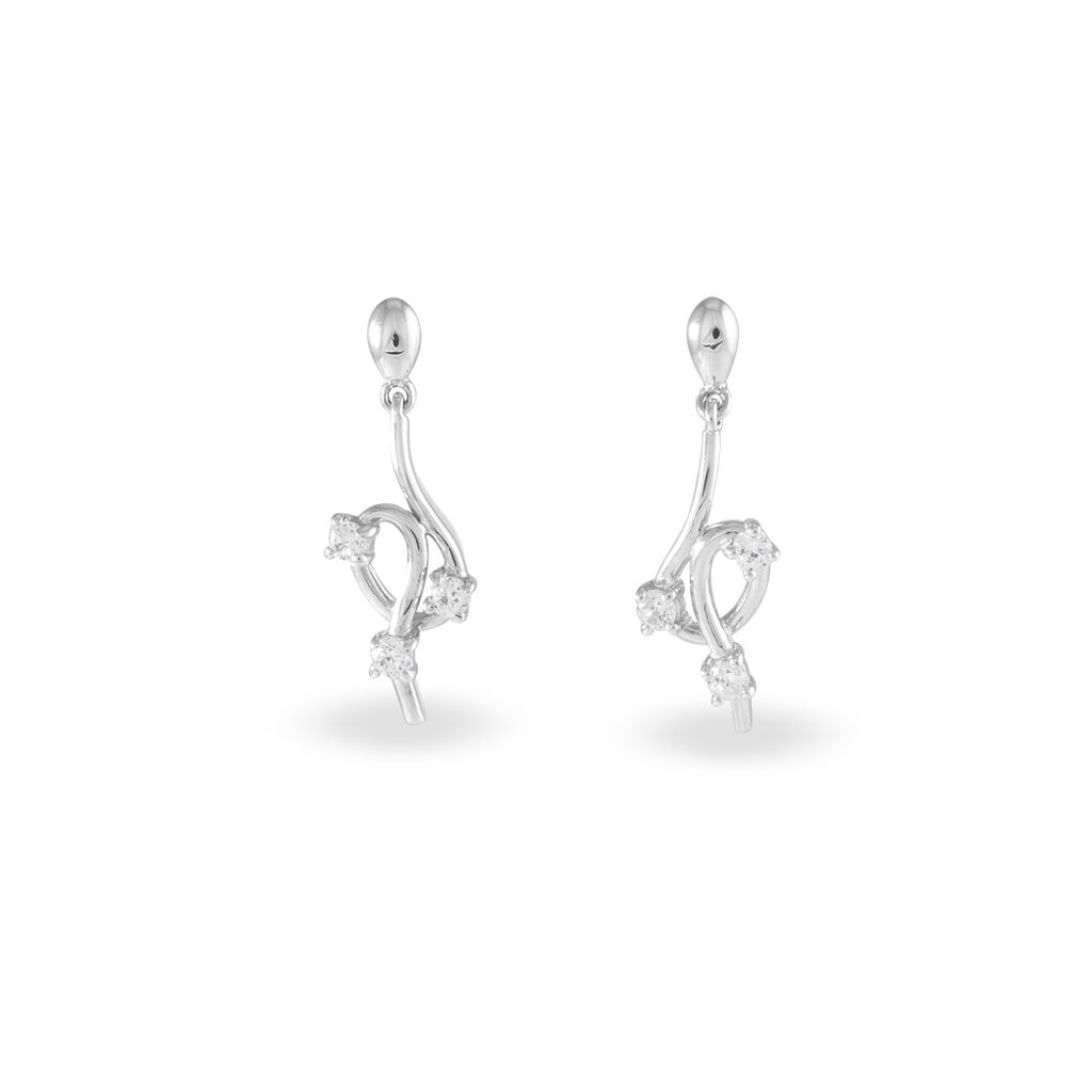 Boucles D'oreilles Pendantes Anna-isabelle Argent Oxyde De Zirconium - Boucles d'oreilles fantaisie Femme | Histoire d'Or