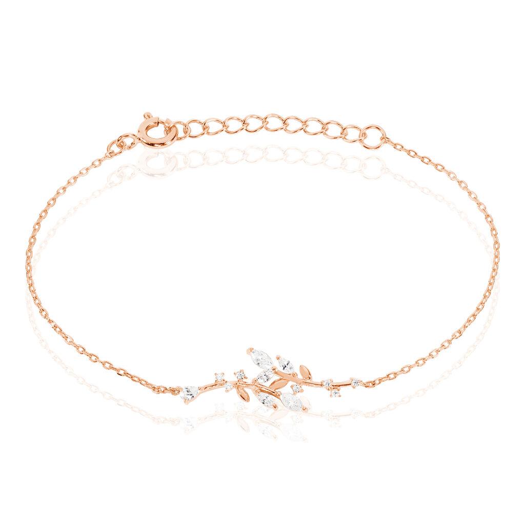 Bracelet Wendy Argent Rose Oxyde De Zirconium - Bracelets Plume Femme   Histoire d'Or