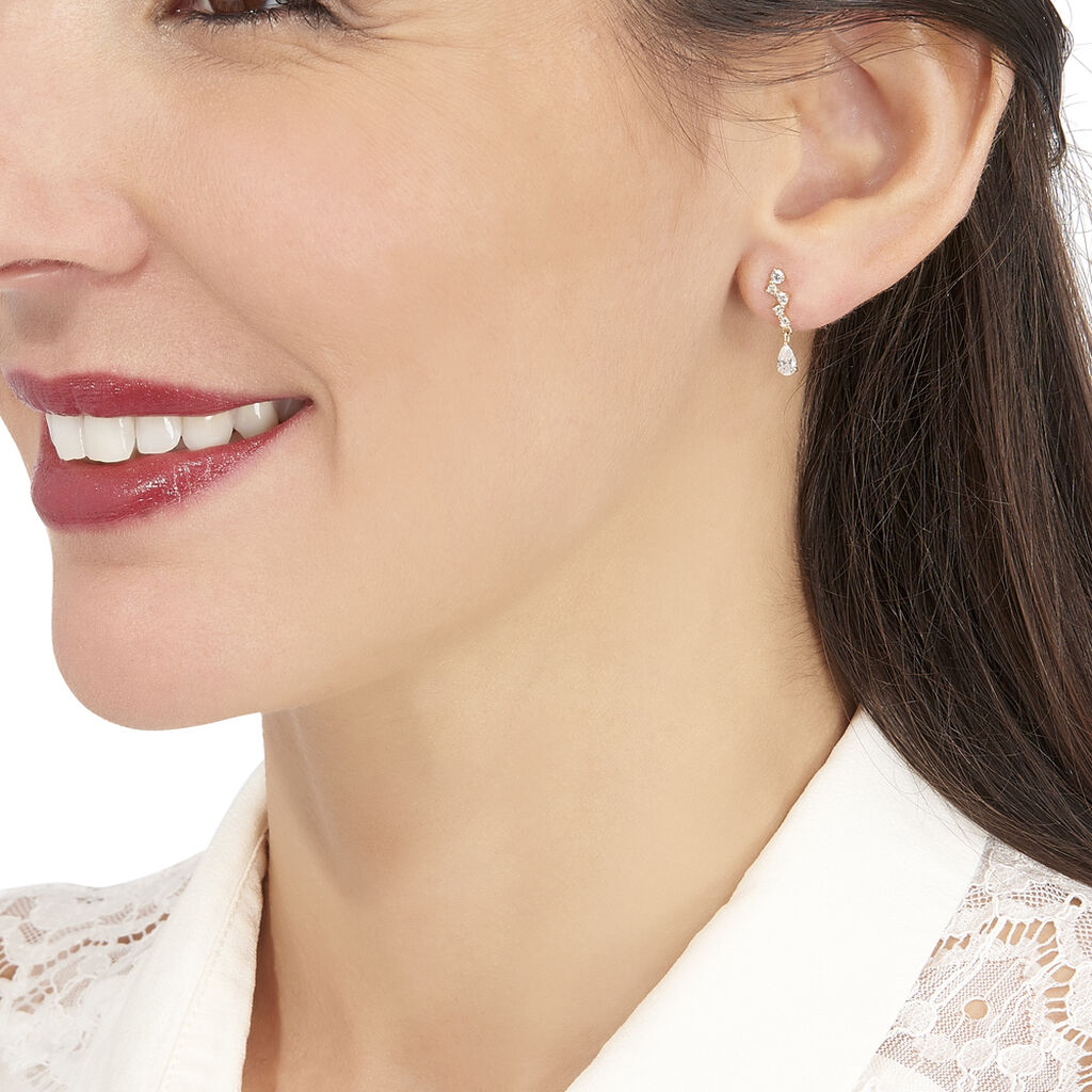 Boucles D'oreilles Pendantes Cegolene Or Jaune Oxyde De Zirconium - Boucles d'oreilles pendantes Femme | Histoire d'Or