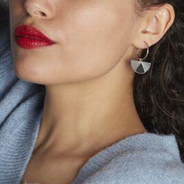 Créoles Acier Blanc Sunshine - Boucles d'oreilles créoles Femme   Histoire d'Or