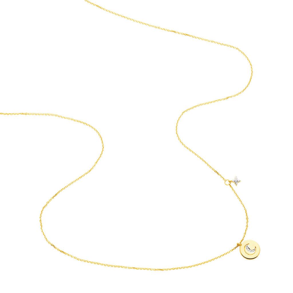 Collier Yamna Or Jaune Oxyde De Zirconium - Colliers Lune Femme   Histoire d'Or