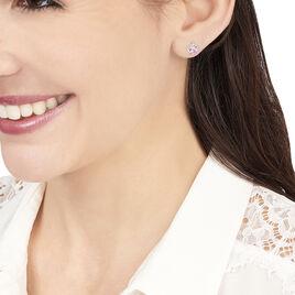 Boucles D'oreilles Puces Vrille Ovale Or Blanc Amethyste - Clous d'oreilles Femme | Histoire d'Or