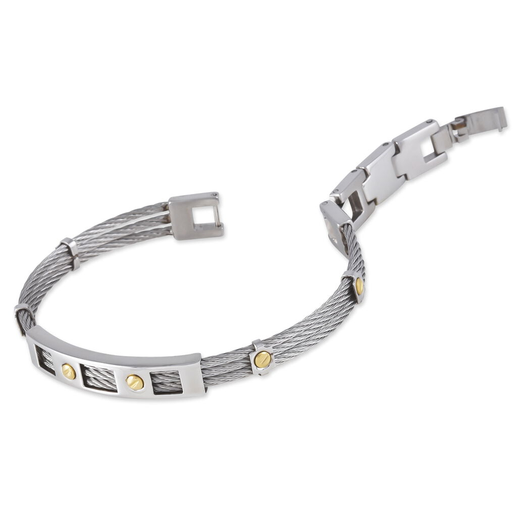 Bracelet Jacques Acier Blanc - Bracelets fantaisie Homme | Histoire d'Or