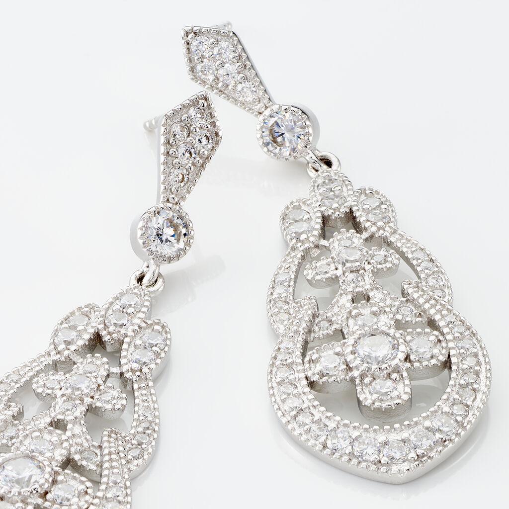 Boucles D'oreilles Pendantes Hivana Argent Blanc Oxyde De Zirconium - Boucles d'oreilles pendantes Femme   Histoire d'Or