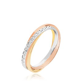 Alliance Entrelacee Diamantee Ruban Plat Or Tricolore - Alliances Femme   Histoire d'Or