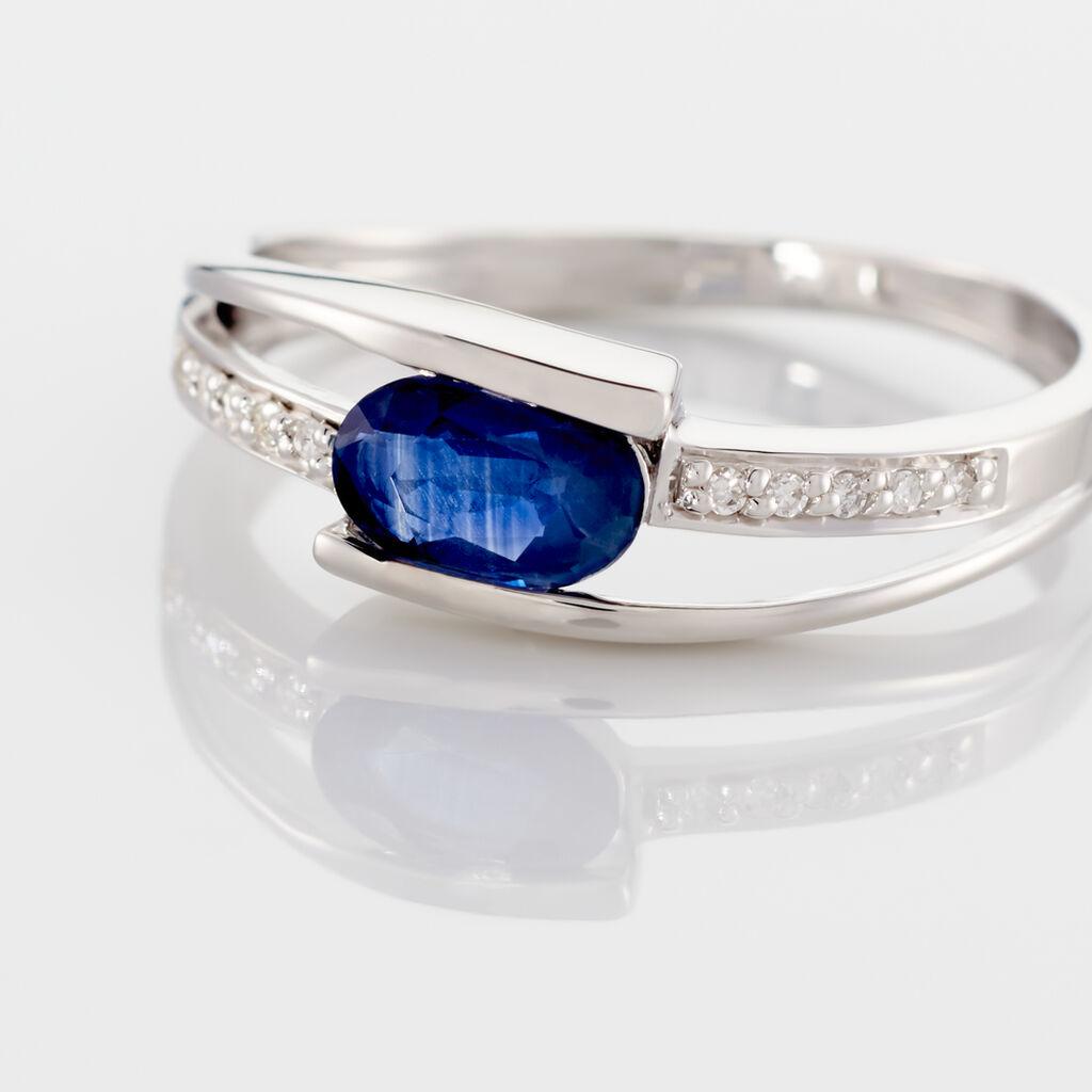 Bague Viyan Or Blanc Saphir Et Diamant - Bagues solitaires Femme   Histoire d'Or