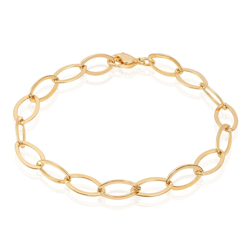 Bracelet Madya Maille Ovale Plaque Or Jaune - Bracelets fantaisie Femme   Histoire d'Or