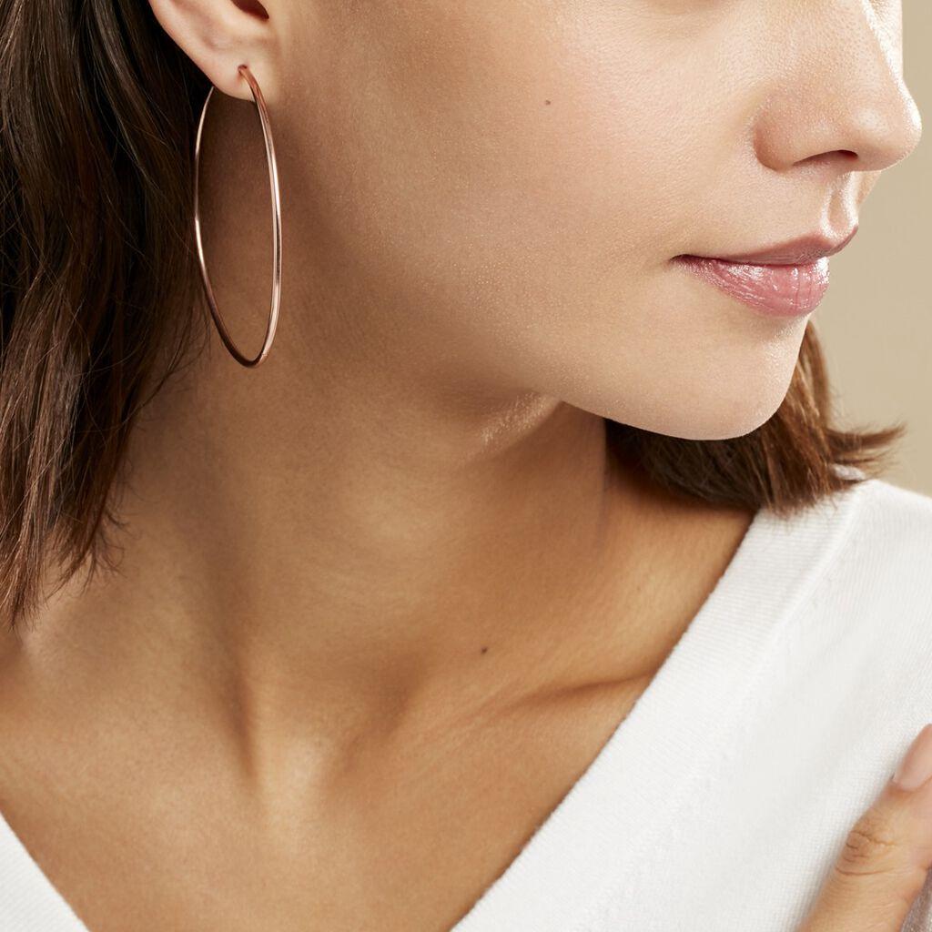 Créoles Olympia Flexible Argent Rose - Boucles d'oreilles créoles Femme   Histoire d'Or