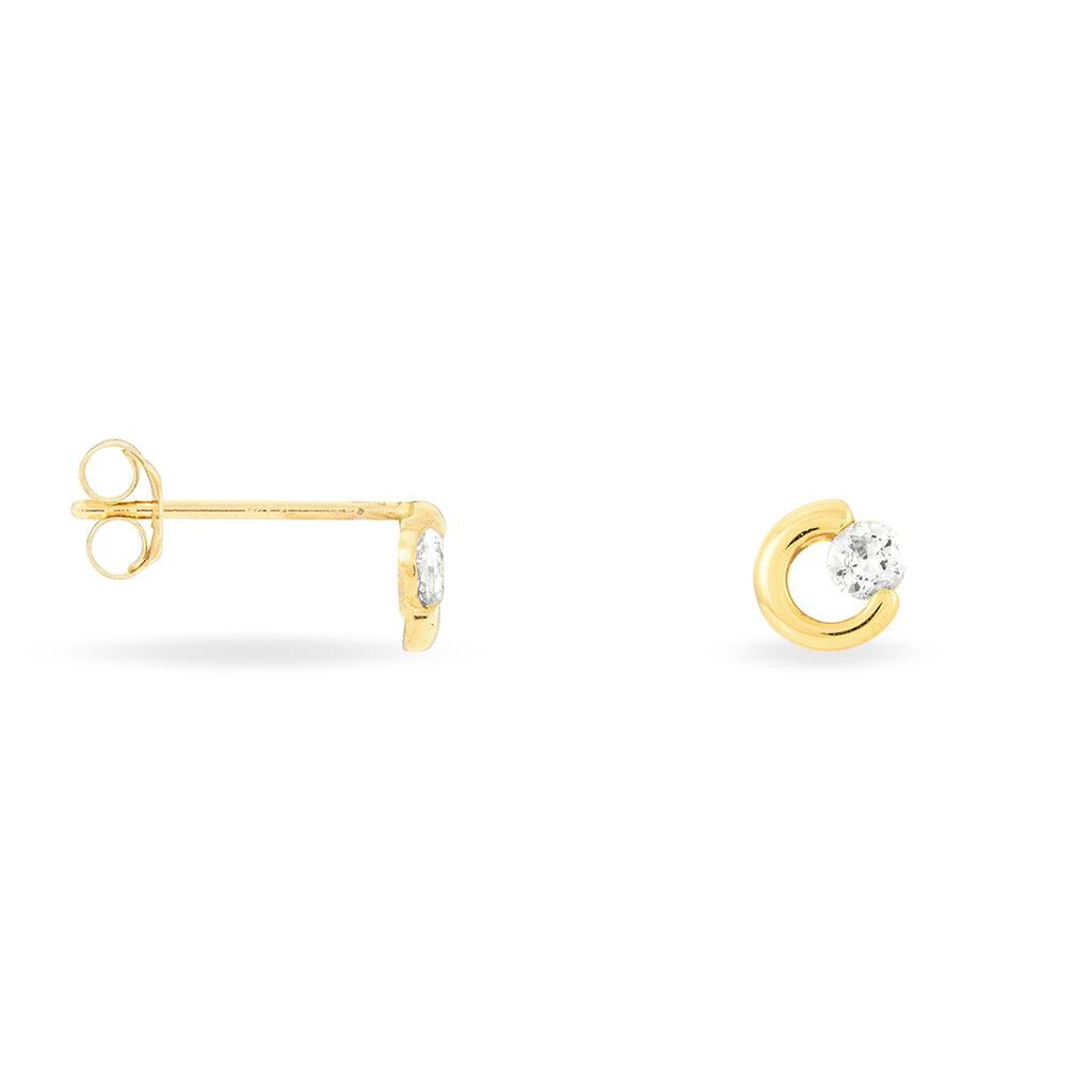 Boucles D'oreilles Puces Edmee Cercle Or Jaune Oxyde De Zirconium - Clous d'oreilles Femme | Histoire d'Or