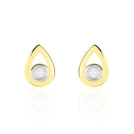 Boucles D'oreilles Puces Fidelia Or Jaune Diamant - Clous d'oreilles Femme   Histoire d'Or