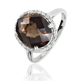 Bague Anna Or Blanc Quartz Et Diamant - Bagues avec pierre Femme   Histoire d'Or
