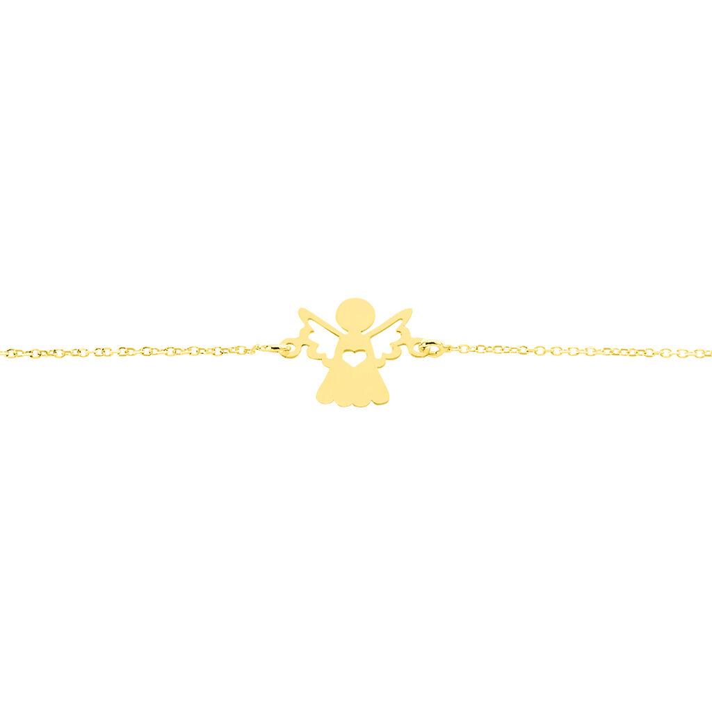 Bracelet Hallie Ange Et Coeur Or Jaune - Bracelets Baptême Enfant   Histoire d'Or