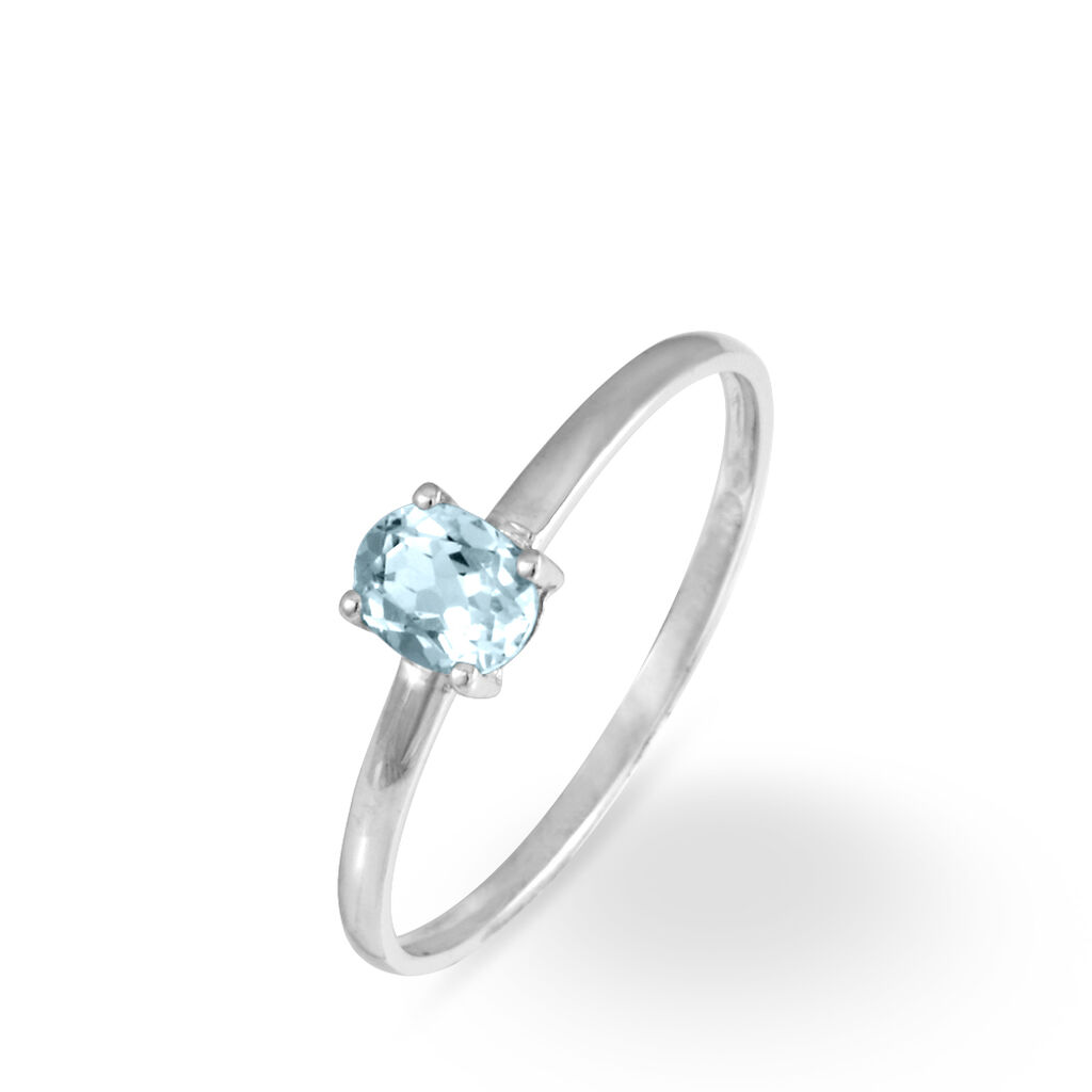 Bague Lily Or Blanc Aigue Marine