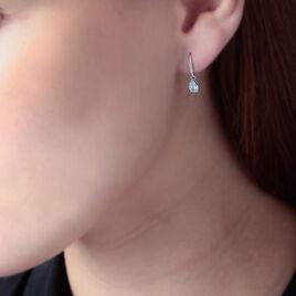 Boucles D'oreilles Pendantes Adib Or Blanc Oxyde De Zirconium - Boucles d'oreilles pendantes Femme   Histoire d'Or