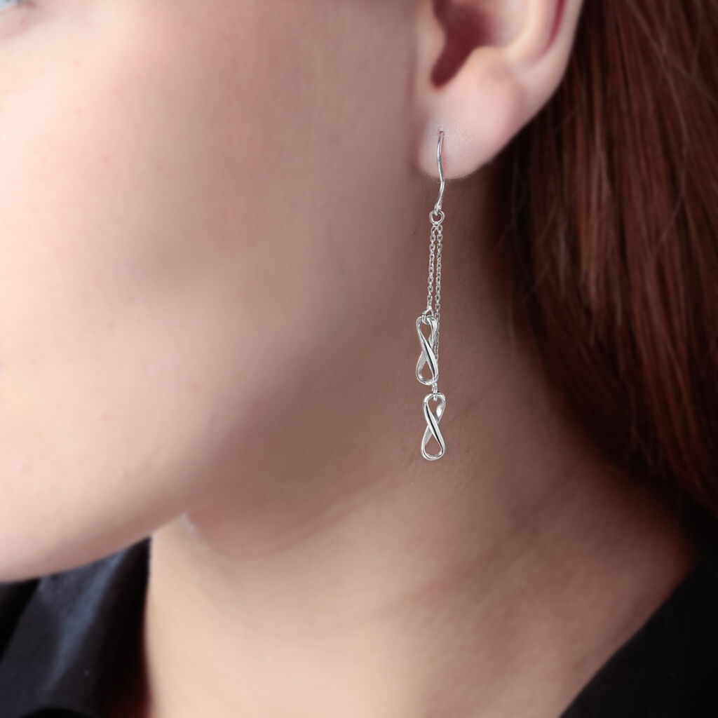 Boucles D'oreilles Pendantes Noelle Argent Blanc - Boucles d'oreilles fantaisie Femme | Histoire d'Or