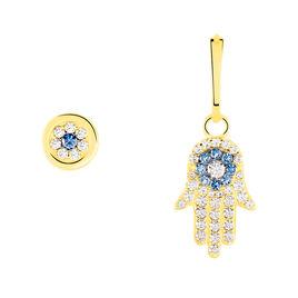 Boucles D'oreilles Pendantes Belkiz Or Jaune Oxyde De Zirconium - Boucles d'Oreilles Main de Fatma Femme | Histoire d'Or