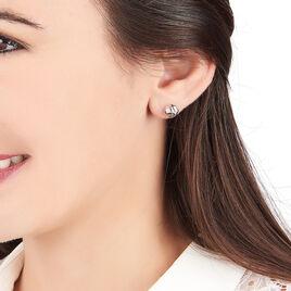 Boucles D'oreilles Puces Shaina Argent Blanc - Boucles d'oreilles fantaisie Femme | Histoire d'Or