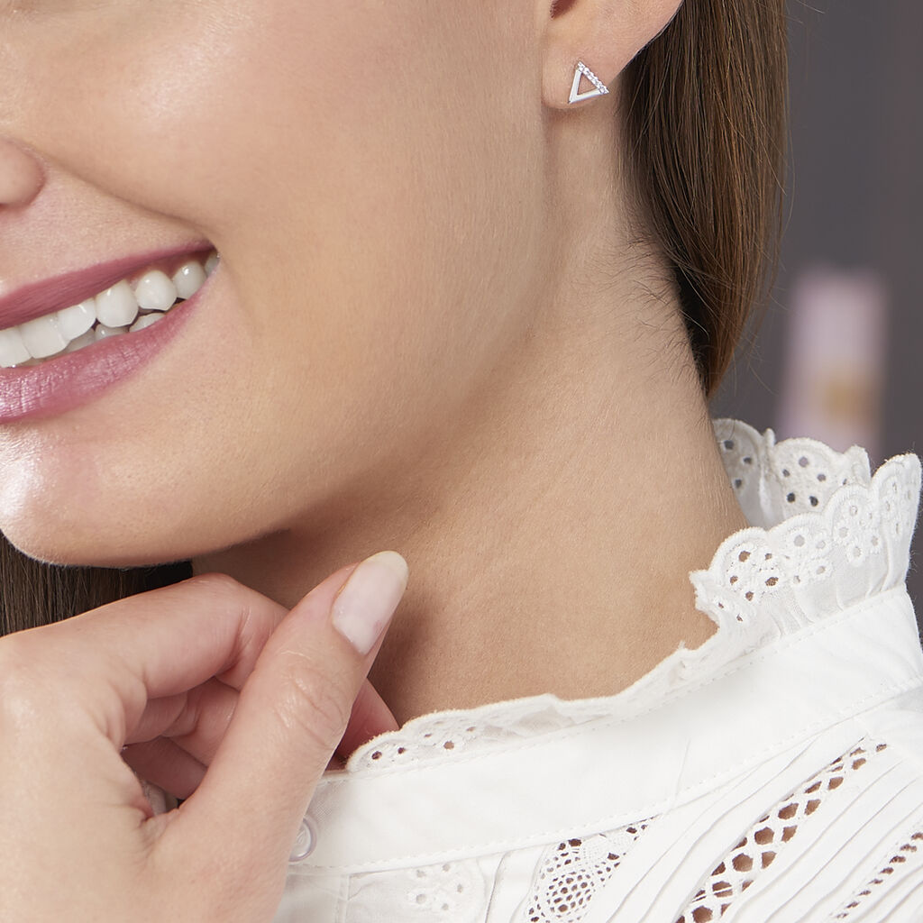Boucles D'oreilles Puces Lorena Argent Blanc Oxyde De Zirconium - Boucles d'oreilles fantaisie Femme   Histoire d'Or