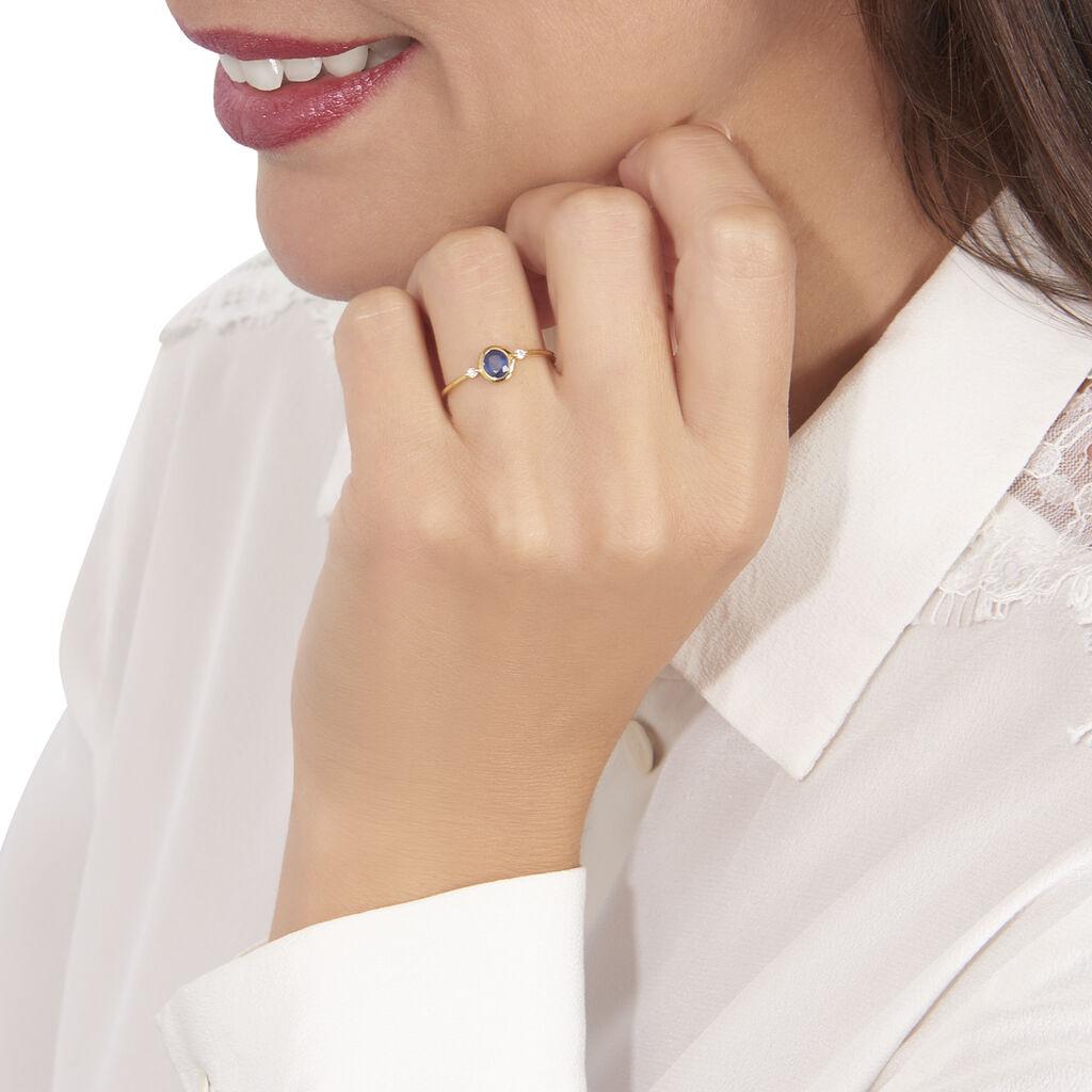 Bague Jahyna Or Jaune Saphir Et Diamant - Bagues avec pierre Femme   Histoire d'Or