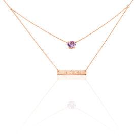 Collier Or Rose Amethyste - Bijoux Femme   Histoire d'Or