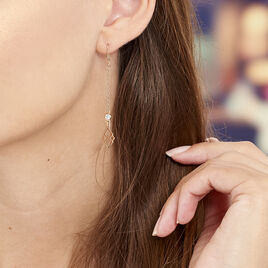 Boucles D'oreilles Pendantes Oumeima Argent Rose - Boucles d'oreilles fantaisie Femme | Histoire d'Or