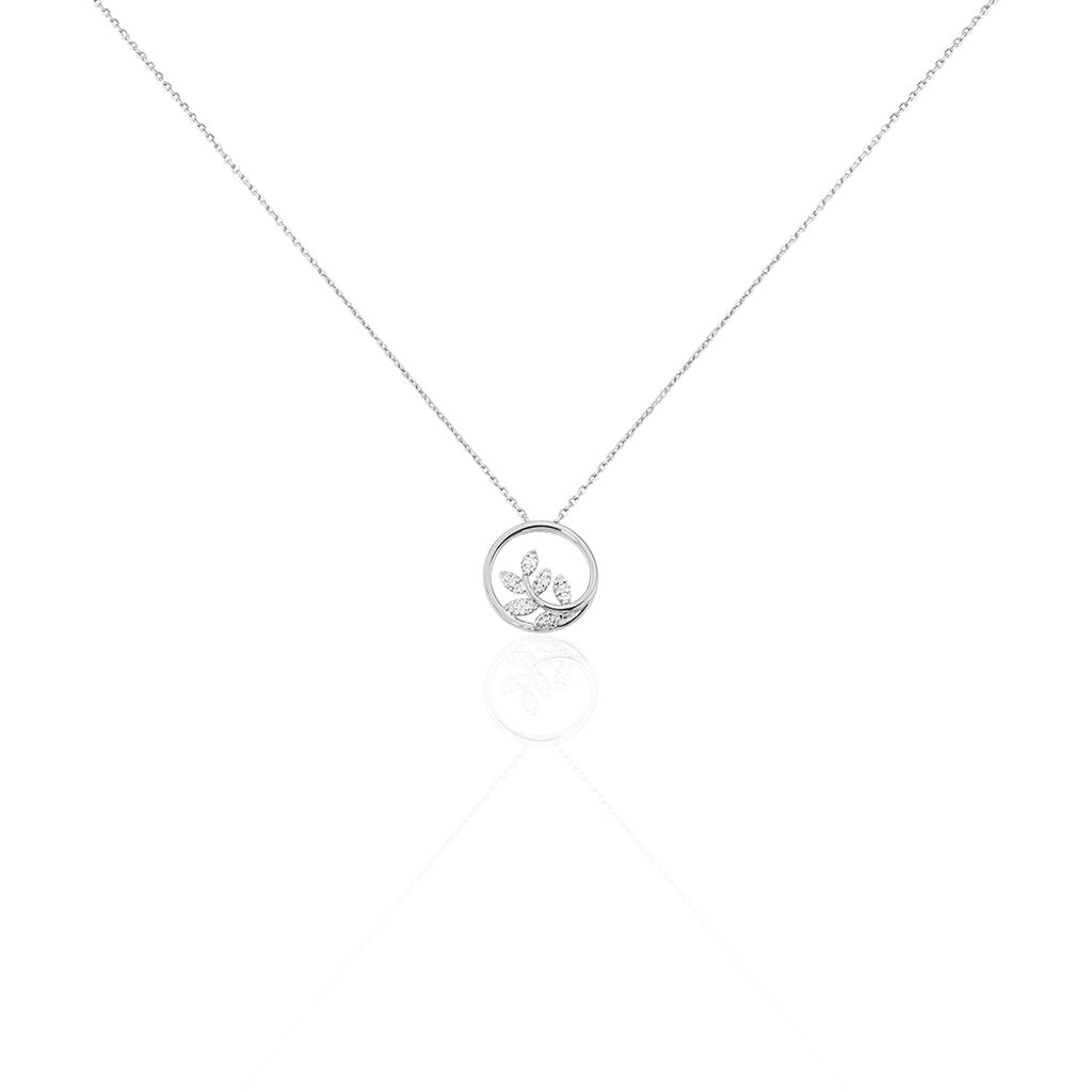 Collier Abbey Or Blanc Diamant - Colliers Plume Femme   Histoire d'Or