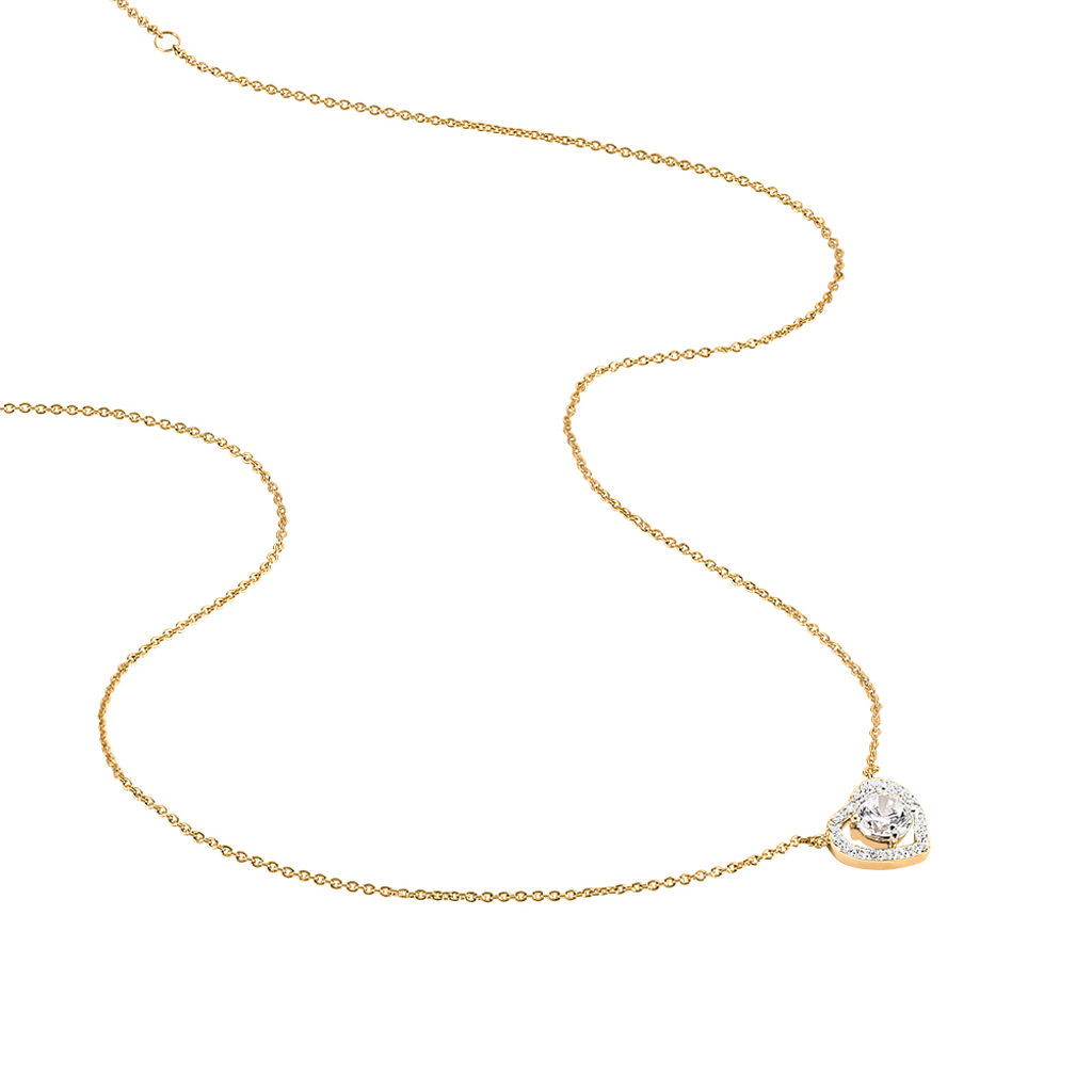 Collier Alais Plaque Or Jaune Oxyde De Zirconium