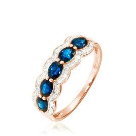 Bague Margaux Or Rose Saphir Et Diamant - Bagues avec pierre Femme | Histoire d'Or