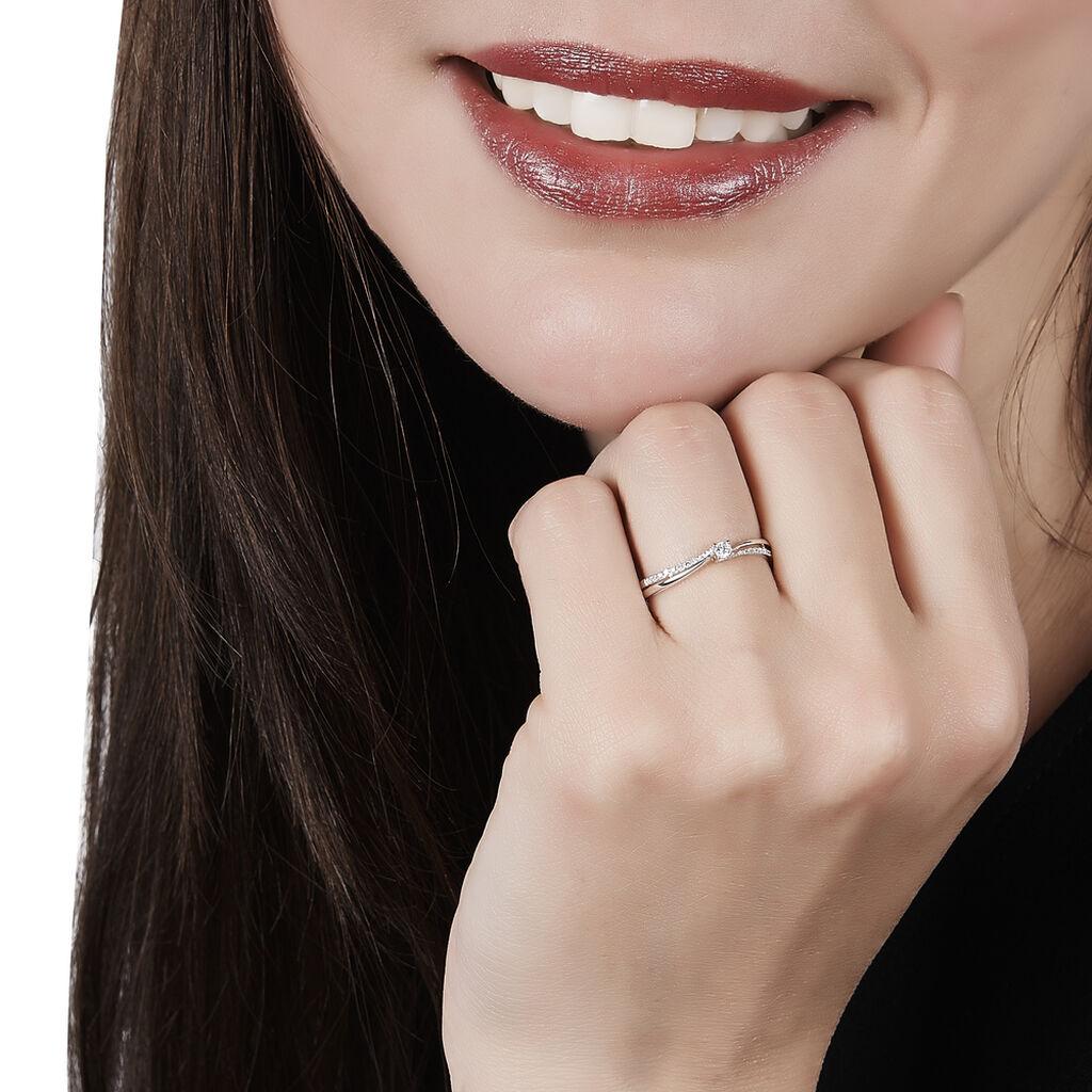 Bague Solitaire Asia Or Blanc Diamant - Bagues solitaires Femme   Histoire d'Or