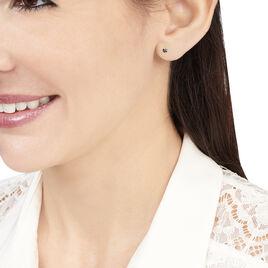 Boucles D'oreilles Puces Daria Or Blanc Oxyde De Zirconium - Clous d'oreilles Femme | Histoire d'Or
