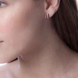 Boucles D'oreilles Puces Tiburcia Or Blanc Diamant Et Rubis - Clous d'oreilles Femme   Histoire d'Or