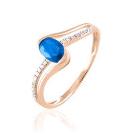 Bague Anja Or Rose Topaze Et Diamant - Bagues avec pierre Femme   Histoire d'Or