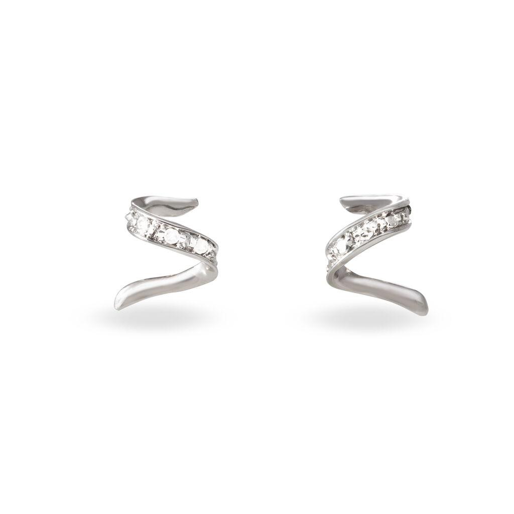 Boucles D'oreilles Puces Ouassima Or Blanc Diamant - Clous d'oreilles Femme   Histoire d'Or