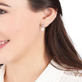 Boucles D'oreilles Pendantes Sathine Argent Perle De Culture Et Oxyde - Boucles d'oreilles fantaisie Femme | Histoire d'Or