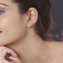 Boucles D'oreilles Puces Eddie Or Jaune Oxyde De Zirconium - Boucles d'Oreilles Coeur Femme   Histoire d'Or