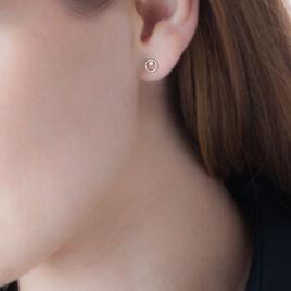 Boucles D'oreilles Puces Edmee Cercle Or Jaune Oxyde De Zirconium - Clous d'oreilles Femme   Histoire d'Or