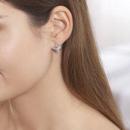 Boucles D'oreilles Puces Amance Or Blanc Topaze Et Oxyde De Zirconium - Clous d'oreilles Femme | Histoire d'Or