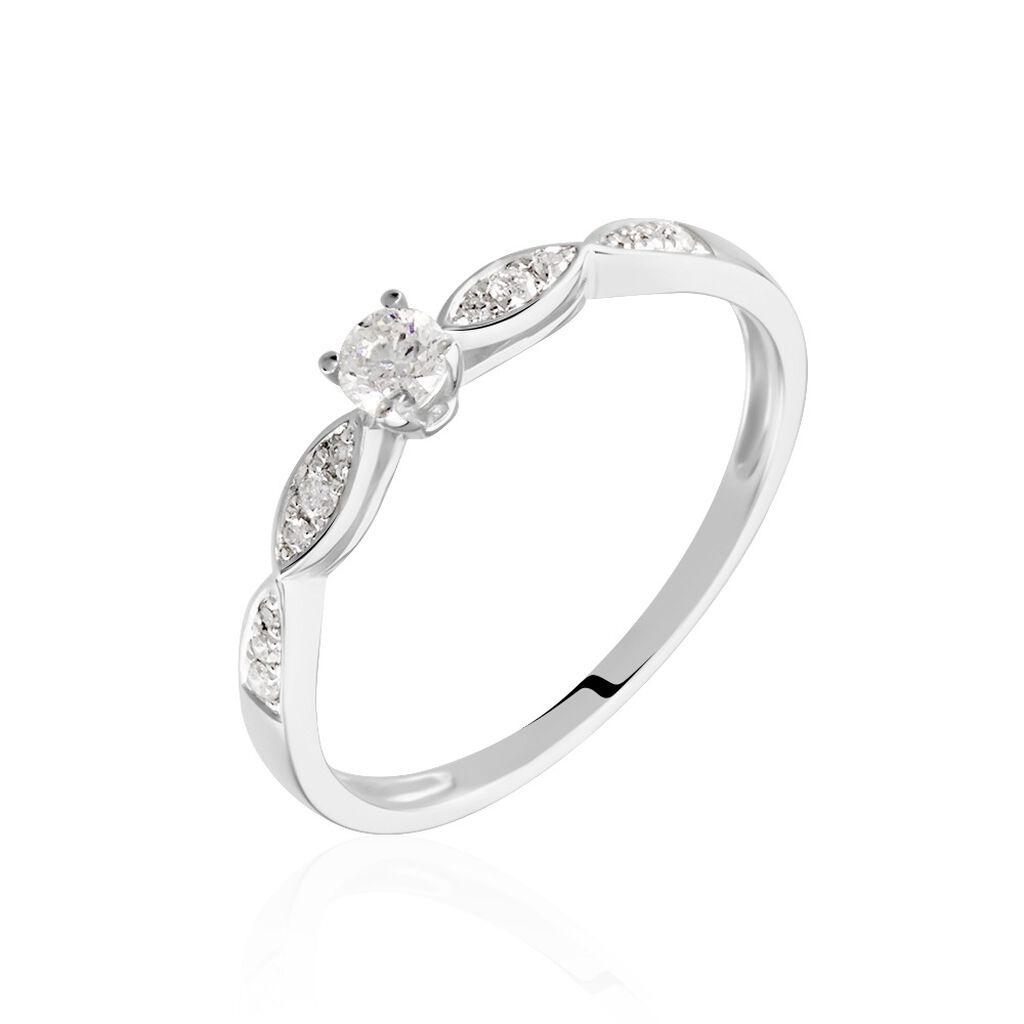 Bague Solitaire Etoile Or Blanc Diamant - Bagues Etoile Femme   Histoire d'Or